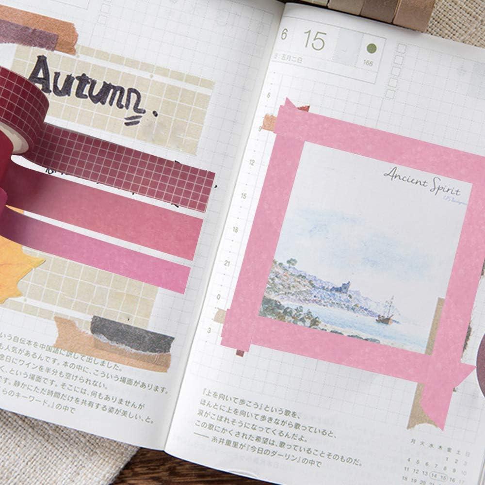 8 Rotoli Washi Tapes Set Washi Tapes Vintage Rotolo da 3m Decorativo con 1 Scatola Larghezza: 10mm, 15mm, Bluestone Confezioni N\O HvxMot Washi Tape Set Colorati Calendari per Diario