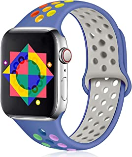 ilopee Rainbow Band Compatible with Apple Watch 5 40mm, Sport Breathable Strap Wristbands Accessories with Holes for iWatch Series 3/2/1 38mm Women Men, Royal Blue/Rainbow S/M