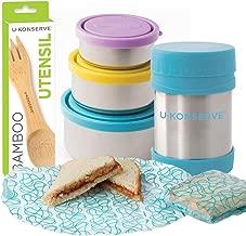 U-Konserve - Waste-Free Lunch Kit - Round Nesting Trio, Insulated Food Jar, Food Kozy Wrap, Bamboo Utensil, BPA-Free, Phthalate-Free, Lead-Free | 4-Pack (Sky)
