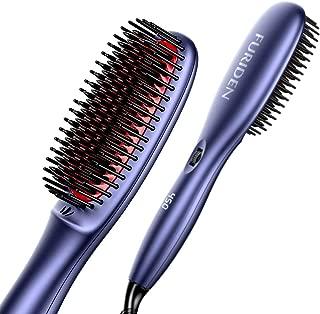 FURIDEN Professional Hair Straightening Brush Straightener, Hair Straightener Brush Ceramic Heating, Hair Straightening Brush Flat Iron