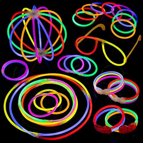 "SwibbyStix Glow Sticks Party Pack (207 Pcs Total), 100pcs 8"" Glow Sticks, 12-24 Hour Glow Time, 6 Colours, Kit for Bracelets, Glasses, Balls, Flowers, Triple and New Heart Bracelets"