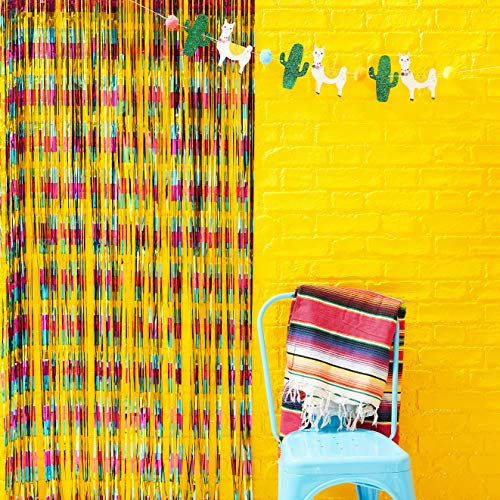 Ginger Ray Multi Coloured Mexican Themed Party Foil Tassel Curtain Backdrop