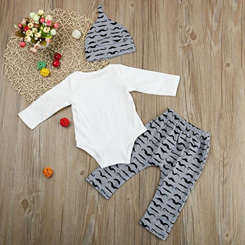 KEERADS Outfits Clothing Sets, 3PCS Baby Boys Girls Bodysuit and Romper Pants Outfit with Hat (3-6 Months, White)