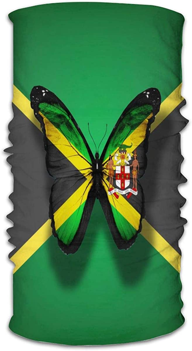 KiuLoam Bandanas Face Mask, Jamaica Flag Butterfly with Coat of Arms Neck Gaiter Mask Headband for Men Women Face Scarf Dust, Outdoors, Sports