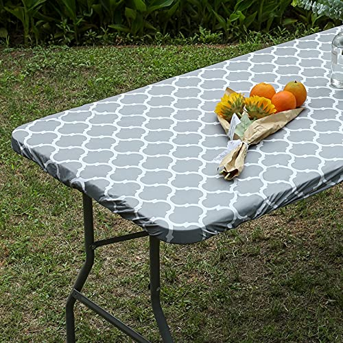 Smiry Elastic Fitted Vinyl Tablecloth, Flannel Backed Rectangle Table Cover for 4 FT Folding Table, Waterproof Wipeable Table Cloth for Outdoor Picnic Camping Parties, Grey Morocco Pattern