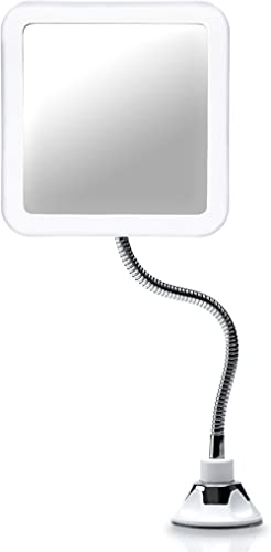 Fancii Magnifying Mirror 10X with LED Light and Flexible Gooseneck, Lighted Travel Makeup Mirror, Lock Suction, Natur...