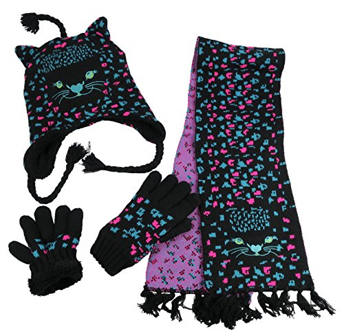 N'Ice Caps Girls Cute Kitty Warm Sherpa Lined Knitted 3PC Winter Set (Black/Multi, 4-7 Years)