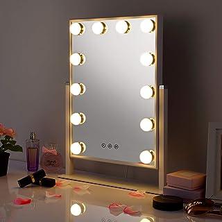 Miroir Maquillage Hollywood avec 12 Ampoules LED, [Cadeau Fête des Mères] Miroir Lumineux Miroir Vintage Miroir Courtoisie...