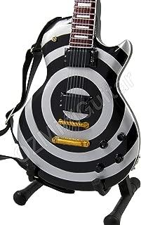 Miniature Guitar Zakk Wylde Silver & Black Bullseye