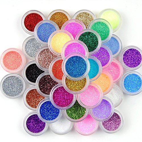 12 barattoli con glitter in polvere, brillanti e colorati, per nail art fai da te, colori assortiti