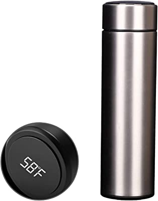 Smart Sports Water Bottle – Temperature Display, 304 Medical Grade Stainless Steel, Vacuum Insulated , Hot Cold, Modern Double Walled, Hydrate Spark Water Bottle Leakproof, 16.9 Oz (Black)