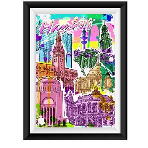 Hamburg Streetart Poster Plakat für das Wohnzimmer Kunstdruck Bild - ungerahmt - INDIVIDUELLE GRÖßE tolle Geschenkidee mit Flair - Fine Art Print Leinwanddruck ab DIN A4 - 80x120 cm XXL