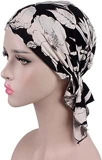 Hongxin Hot Sale 2018 Women Floral Print Beanie Turban Hat India Muslim Elastic Cotton Beanie Hat Turban Headwear For Cancer Patients Head Scarf Creative Gift For Her (A)