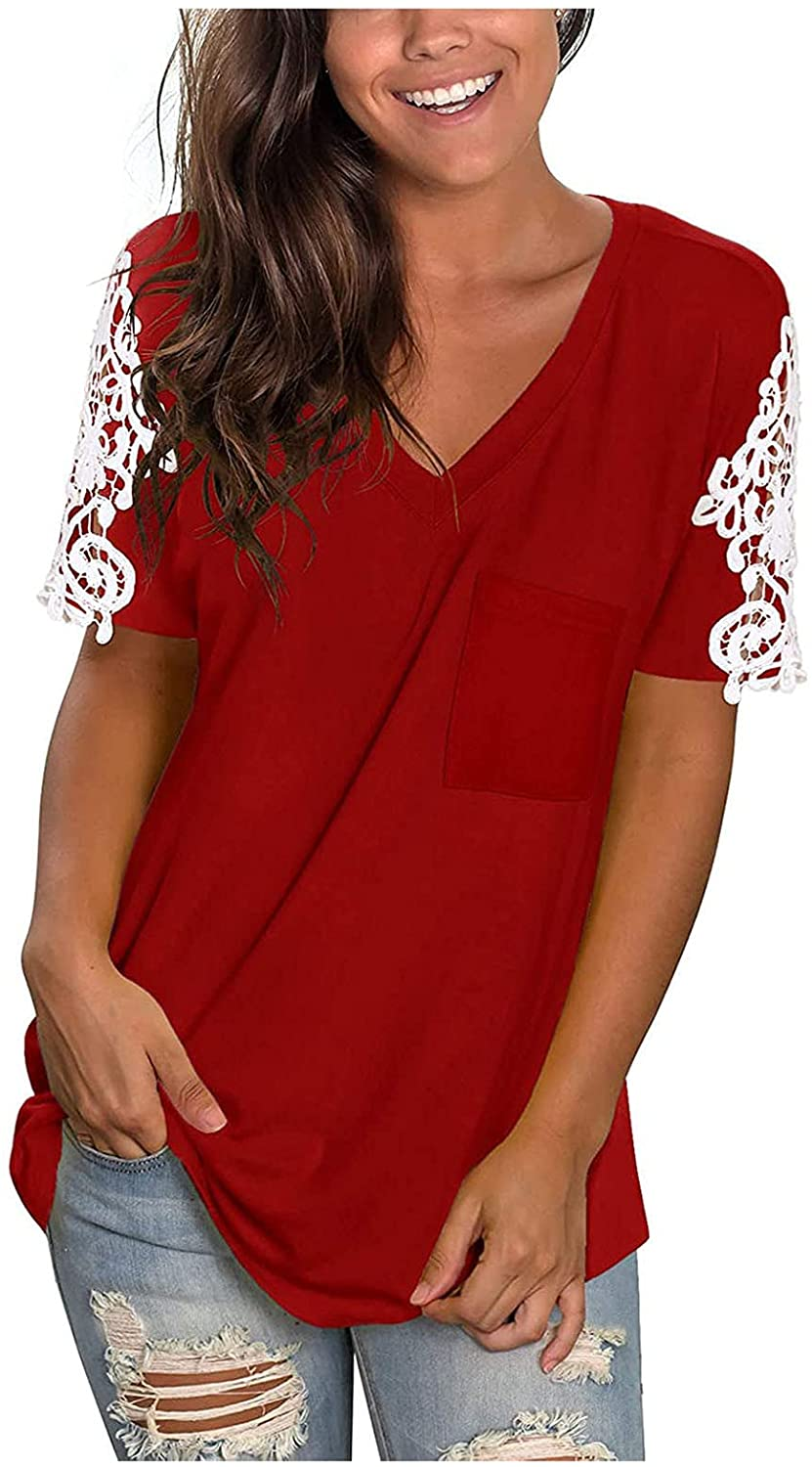 Jaqqra Summer Tops for Women, Womens Short Sleeve Tops Lace Soild Color V-Neck Flowy T-Shirts Basic Loose Tunic Tee Top