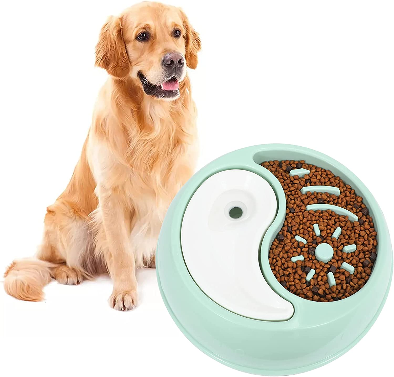 Slow Feeder Dog Bowls, XZQTIVE Newest 2 in 1 Double Dog Bowl for Food and Water, Interactive Bloat Stop Pet Bowl Anti-Gulping Slow Eating Non Slip Non-Toxic Healthy Design (Green)