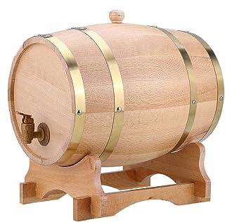 Tonneau à Vin en Chêne, Tonneau à Vin en Bois Vintage Pratique Durable avec Support pour Stockage de Vins(1.5/3/5/10L)(10L)