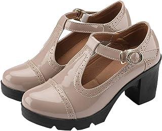Women's Classic T-Strap Platform Mid-Heel Square Toe...