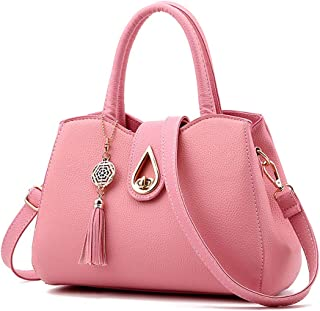 Women PU leather Mini Cute Tote Bags Small Top Handle Satchel Purses Shoulder Tassel Handbags for Ladies