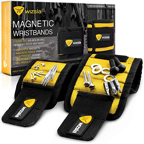 Wizsla Magnetic Wristband for Holding Screws, Tools, Set of 2 Sizes, Unique Gift for Men, Dad, Father, Husband, DIY Handyman, Him/Her, Women (Yellow)