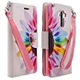 Microseven LG G Stylo LS770 Case, LG G Vista 2 Case, Magnetic Leather Folio Flip Book Wallet Pouch Case Cover With Fold Up Kickstand and Detachable Wrist Strap For LG G Stylo / LG G Vista 2 (Sun Flower)