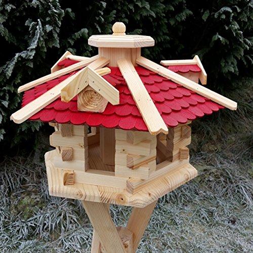 Qualitäts Vogelhaus mit Holzschindeln 6 Eck lasiert Vogelhäuser-Vogelfutterhaus großes Vogelhäuschen-aus Holz Wetterschutz (Rot)