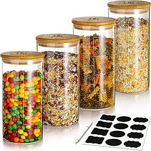Tarros de cristal con tapa, 4 x 1400 ml, reutilizables, con capas de vidrio, pegatinas libres, 4 juntas adicionales, tarros de especias 100% sellados, aptos para lavavajillas, sin BPA