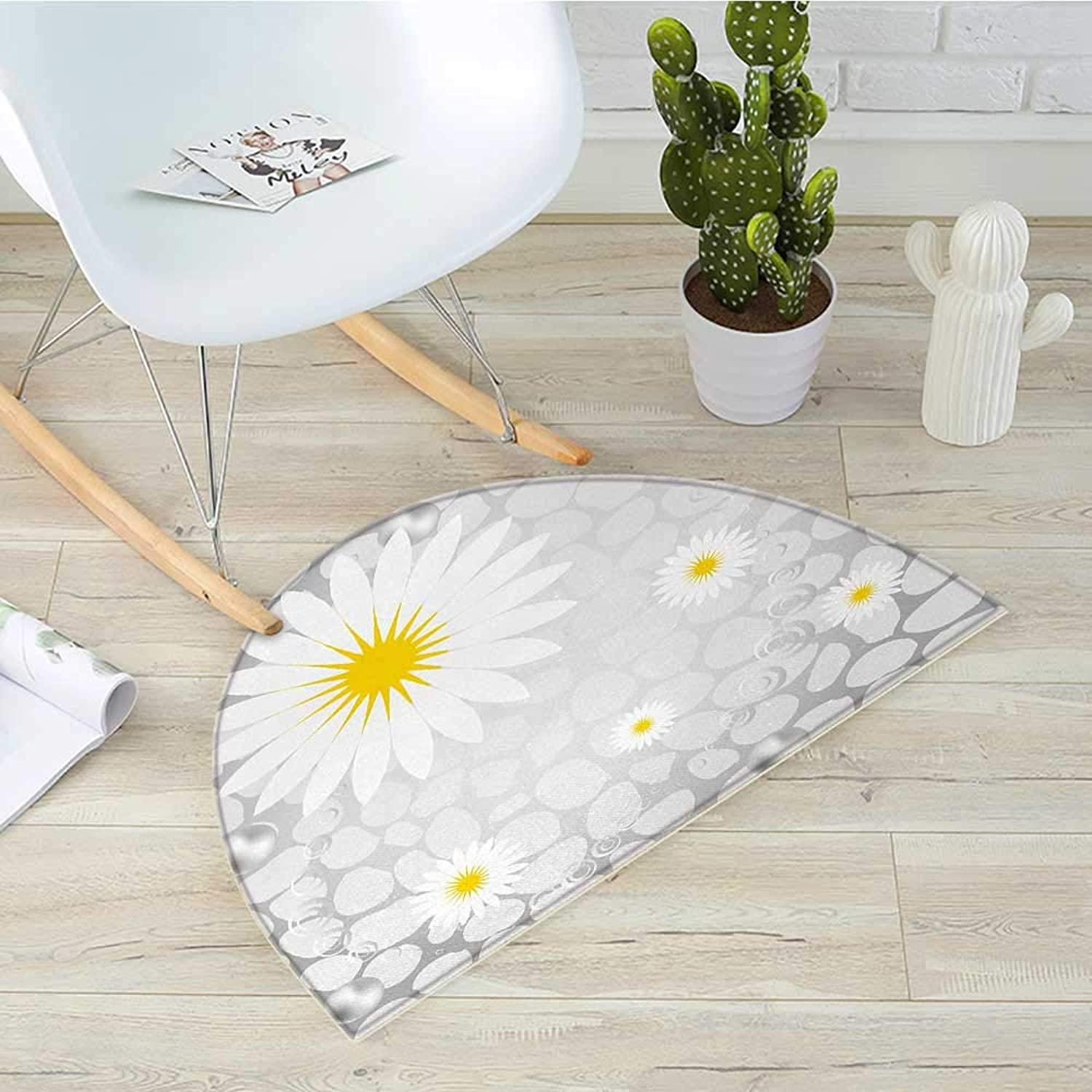 Grey and Yellow Semicircular CushionHawaiian Island Flowers on Abstract Animal Print Theme Backdrop Entry Door Mat H 39.3  xD 59  White and Light Grey