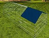 Kaninchenstall Hasenkäfig Hasengehege Hasenstall Käfig Freilauf Gehege Metall mit blauem Sonnenschutz - 4