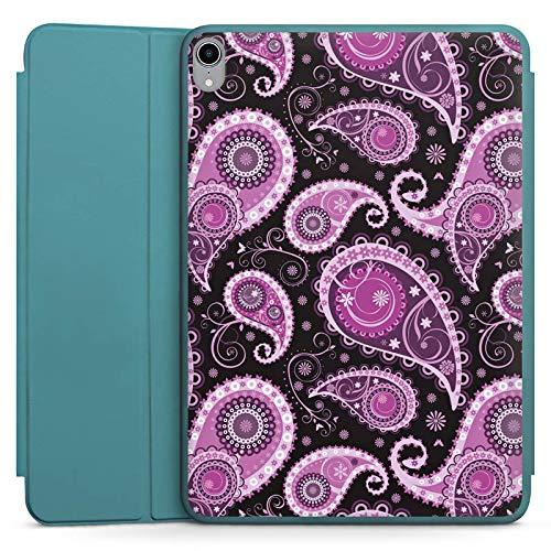 DeinDesign Smart Hülle hellblau kompatibel mit Apple iPad Pro 11 2018 Hülle Tasche mit Ständer Smart Cover Ornamente Paisley Muster Lila
