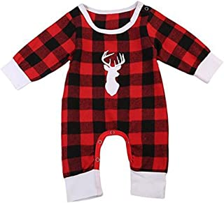 Sunbona Christmas Toddler Baby Boys Girls Deer Head Plaid Long Sleeve Romper Jumpsuit Cotton Warm Pajamas Outfits Clothes