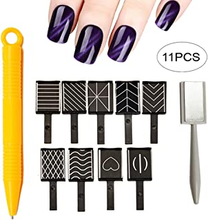 Xiton 11pcs Kit de Esmaltes de Uñas 3d imán magnético ojo de gato bolígrafo dibujo Vertical Stick para herramientas de uña...