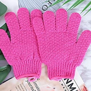 Household Bathing Gloves Five Fingers Double-Sided Strong Exfoliating Dead Skin Bath Gloves Protection (Color : Red)