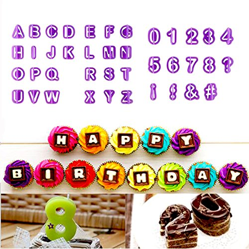 Emporte-pièces, SOEKAVIA Lot de 40 Moules à Pâtisserie en Plastique Forme Alphabets Chiffres Symboles Ustensile pour Décoration de Gâteau Pâte à Sucre Biscuit
