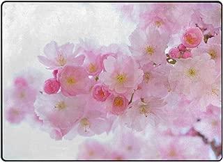 80 x 58 Inch Floor Mat Round Area Rug Bedroom Home Decor Japanese Cherry Trees Soft Living Room Carpet Bathroom