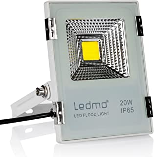 LEDMO 20W LED Flood Light - 100W Equivalent Bright LED Work Lights IP65 Waterproof Outdoor Lights1600LM LED Lights 6000K White Spotlight Garage, Garden Yard, Party, Playground
