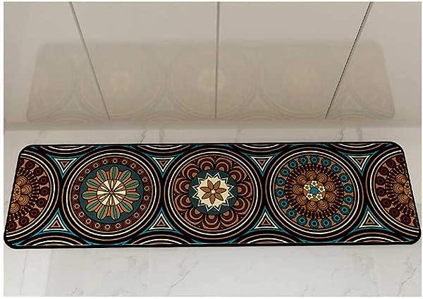 QYLOZ Ethnic Style Long Strip Floor Mat Bedroom Bedside Kitchen Entrance Door Mat Anti Slip Mat