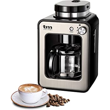 TM Electron TMPCF020S Mini cafetera de Goteo con Molinillo Grano, 4 Tazas, 600W y Filtro Lavable Compatible con café molido, 600 W, 6 Cups, Acero Inoxidable, Plata: Amazon.es: Hogar
