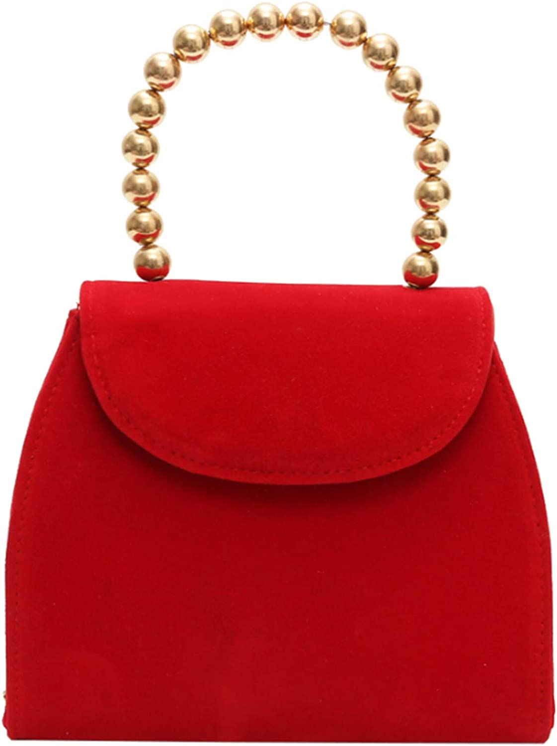 Skyseen Tote Handbags Shoulder Bags Cross Body Bag with Pearl Handle for Women Girls Red