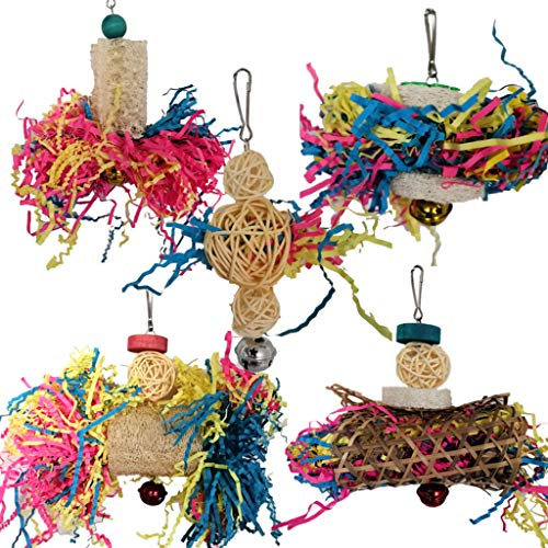 YO-HAPPY 5 uds, Juguetes para triturar Loros, Periquito, Masticar, forrajear, Juguete, Jaula de pájaros, Accesorios