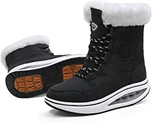 Women Snow Boots Warm Lace-up Mid-Calf Boots Winter Walking Shoes Cotton Lined Comfortable Outdoor Booties