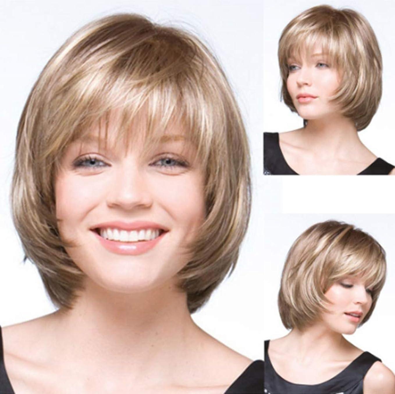 クレタ効果的窒息させるブラジル人毛ウィッグライトブラウン34センチ用女性かつら合成耐熱ショート