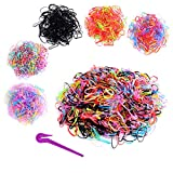 1000Pcs Baby Elastic Hair Ties with Remover Cutter, Rovedcity Colorful Hair Rubber Band Soft Hair Ties Pony Ponytail Holders Cutting Tool for Toddler Girls Kids (5 Colors)