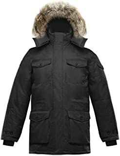 Triple F.A.T. Goose SAGA Collection | Eldridge Mens Hooded Goose Down Jacket Parka with Real Coyote Fur