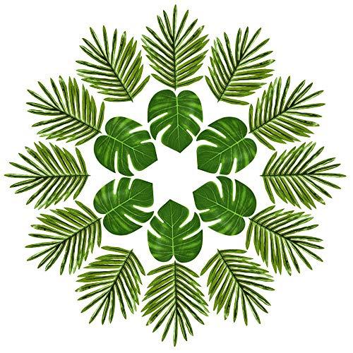 Kuuqa Ensemble de 24 feuilles de palmier tropical Simulation Plantes artificielles Feuilles de Monstera tropical pour Safari Hawaiian Jungle Beach BBQ Décorations de fête à thème (2 styles)