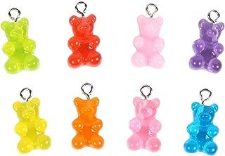Resin Gummy Bear Pendant, BENBO 40Pcs 8 Colors Cartoon Bear Keychain Pendants Necklace Bear Candy Charm for DIY Jewelry Ma...
