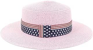 Flag Pattern Wide Brim Sunhat Summer Women Travel Straw Beach Sun Hat Sun Visor Fedora Sun Hat (Color : Pink, Size : 56-58CM)