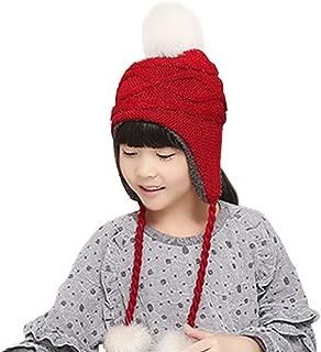 Toddler Kids Winter Earflap Beanie Hat Boy Girl Fur Pompom Fleece Lined Knit Hat