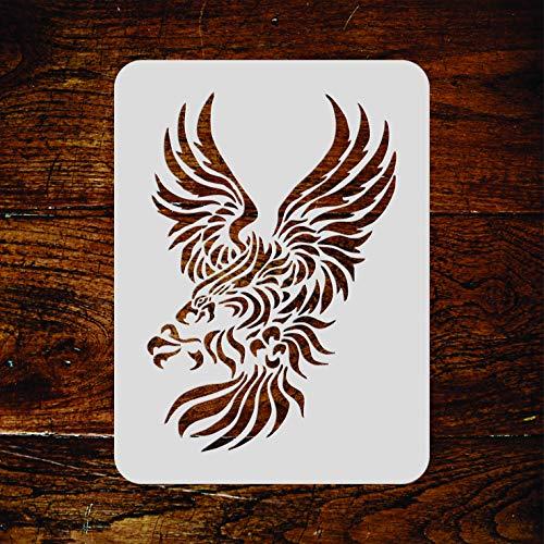 Adler-Schablone – wiederverwendbare stilisierte Vogel-Wandschablone M