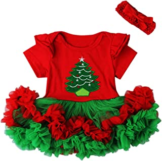 Cute Baby Girl Christmas Red Santa Tulle Dress + Headband Outfit Set Infant Girl One Piece Playwear Jumpsuit Romper