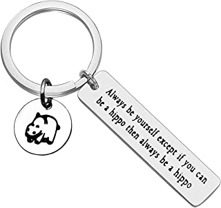 Inspirational Keychain Gifts Always Be Yourself keychain Hippo Keychain Encouragement Keychain Gifts Hippo Lover Gift Grad...